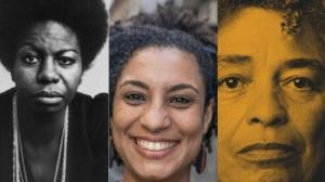 Montagem sobre fotos de Nina Simone/Marielle Franco/Angela Davis