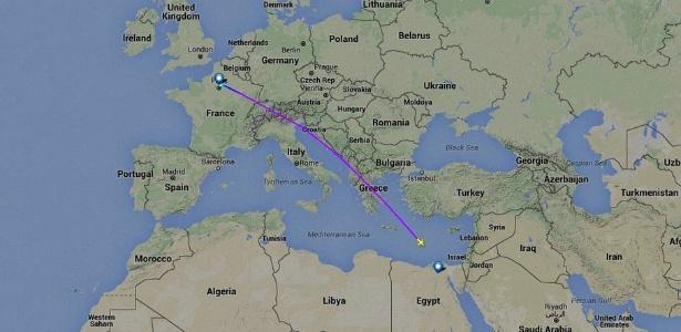 Rota do voo MS804 da Egyptair, que desapareceu