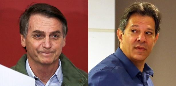 Os candidatos à Presidência, Jair Bolsonaro (PSL) e Fernando Haddad (PT)