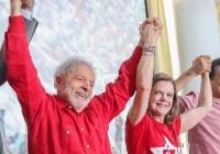 Lula, Gleisi e Haddad na reunião da executiva nacional do PT