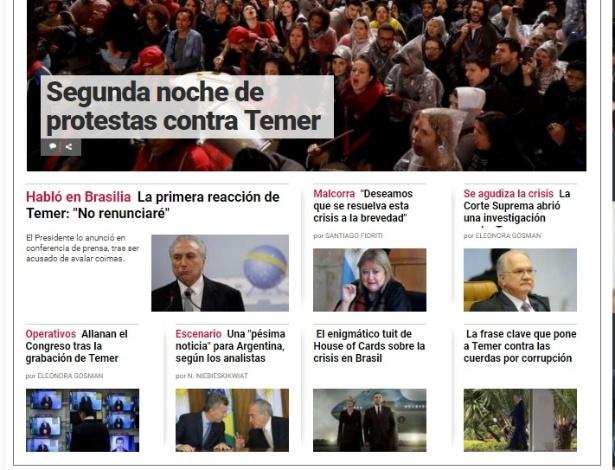 """Homepage do jornal argentino """"Clarín"""" praticamente tomado com notícias do Brasil"""