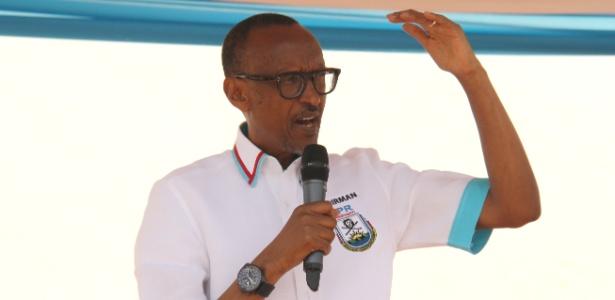 14.jul.2017 - Presidente de Ruanda, Paul Kagame, discursa na cidade de Ruhango durante a campanha para se eleger pela terceira vez como comandante do país, que ele governa desde 2001