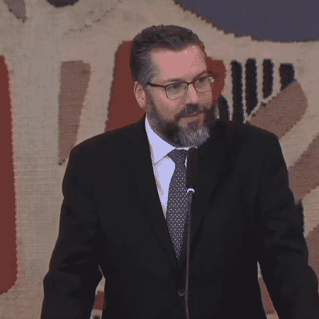 O ministro das Relações Exteriores, Ernesto Araújo, em discurso em Brasília - Reprodução