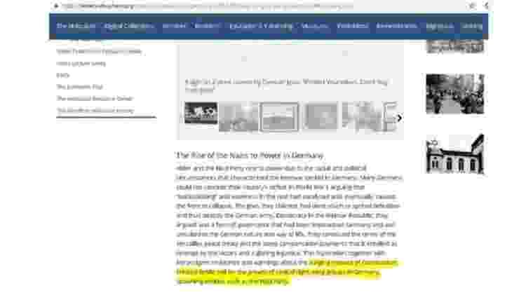 Trecho no site do museu Yad Vashem que diz que o Partido Nazista surgiu como reação às ameaças do comunismo na Alemanha entreguerras - Reprodução/Museu Yad Vashem/BBC - Reprodução/Museu Yad Vashem/BBC