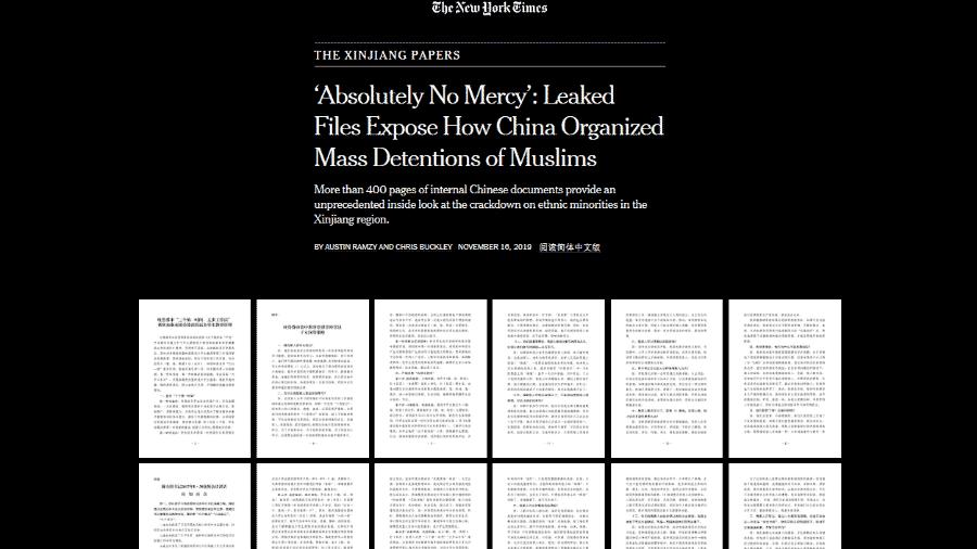 """Reportagem do """"The New York Times"""" aponta criação de campos de detenção no sul da China - Reprodução"""