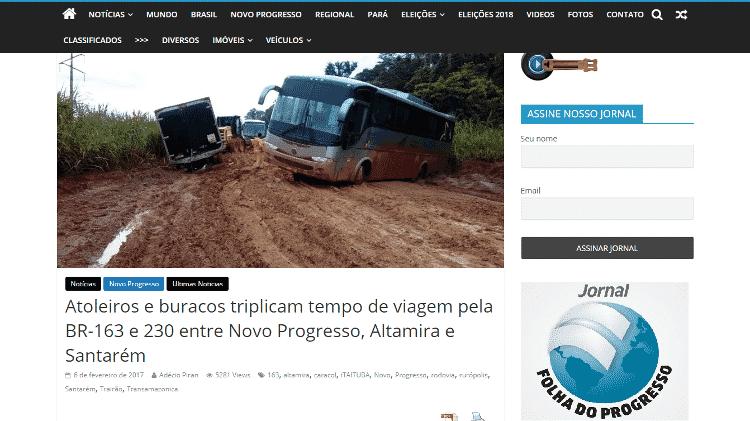 16.nov.2019 - Reportagem do site Folha do Progresso sobre atoleiros na BR-163 em 2017 - Reprodução/Site Folha do Progresso