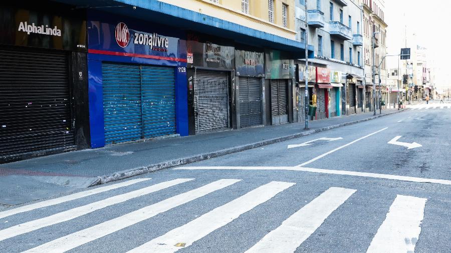 Comércio continua fechado em São Paulo devido as recomendações da Prefeitura por causa do novo coronavírus - PAULO GUERETA/ESTADÃO CONTEÚDO