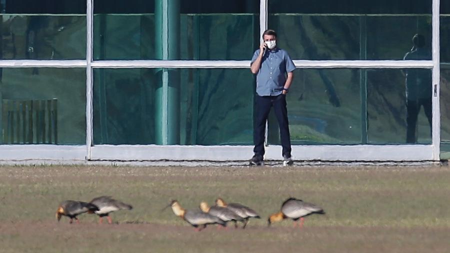 9.jul.2020 - Com covid-19 e isolado, presidente Jair Bolsonaro (sem partido) passeia em frente ao Palácio da Alvorada, sua residência oficial - Dida Sampaio/Estadão Conteúdo