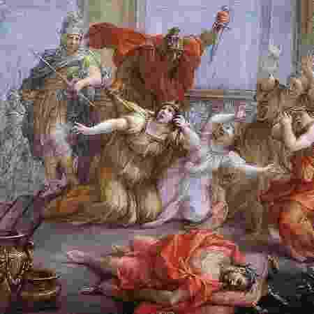 O assassinato de Calígula e sua família foi horrível: o imperador foi ferido pelo menos 30 vezes enquanto um centurião matava sua esposa Cesônia. Sua filha, Julia Drusilla, teve a cabeça batida contra a parede - GETTY IMAGES - GETTY IMAGES