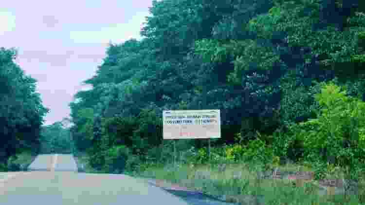 Rodovia BR-174 no início do trecho que atravessa em 120 km a Terra Indígena Waimiri-Atroari, entre Amazonas e Roraima - Rubens Valente - Rubens Valente