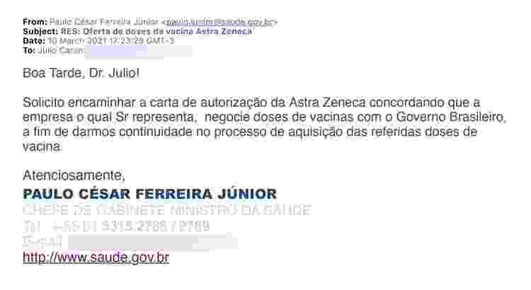 email 2 Julio Caron - Arte/UOL - Arte/UOL