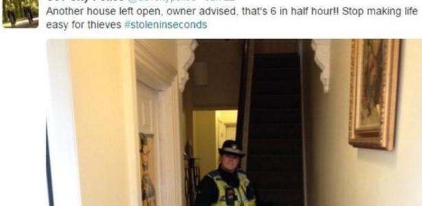"""""""Outra casa deixada aberta"""", alerta tuíte da polícia de Conventry - Coventry City Police/Reprodução"""