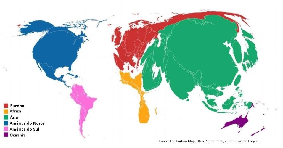 O mapa redimensiona cada país de acordo com as emissões anuais de CO2 em 2013. As emissões de dióxido de carbono e a mudança climática se tornaram grandes questões ambientais, sociais e políticas. A estimativa é que as perdas econômicas relacionadas ao clima tenham chegado a 200 bilhões por ano na última década