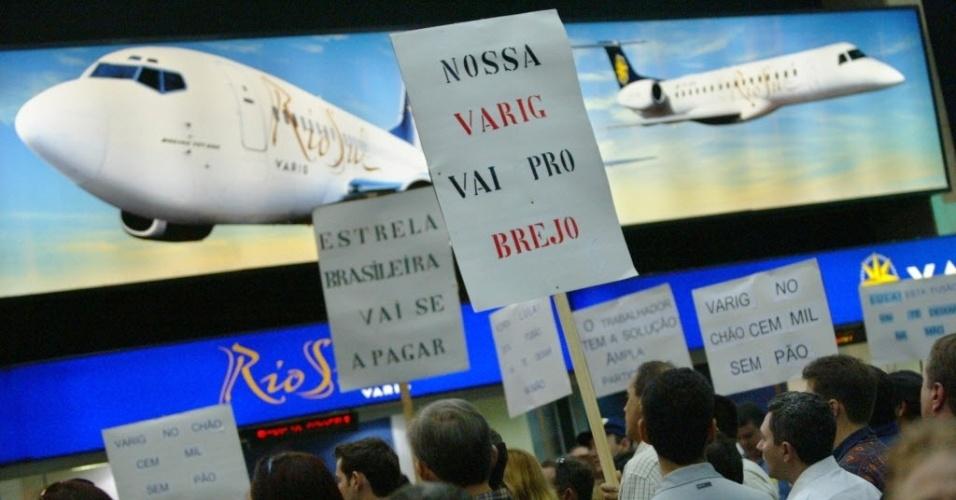 Funcionários da Varig protestam nos aeroportos do país em 2003