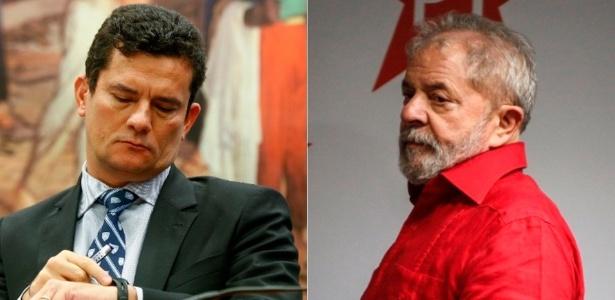O juiz Sergio Moro (esquerda) e o ex-presidente Luiz Inácio Lula da Silva