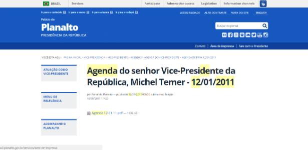 Agenda oficial da Vice-Presidência do dia 12 de janeiro de 2011 foi modificada pela última vez em 18 de maio de 2017 no site do Planalto