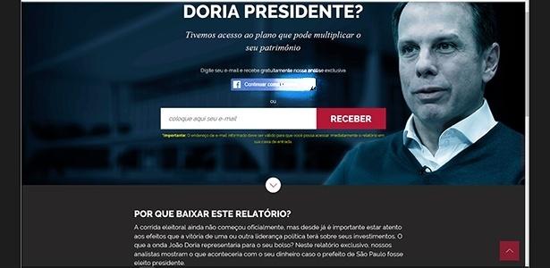 Propaganda em página de internet da empresa Empiricus