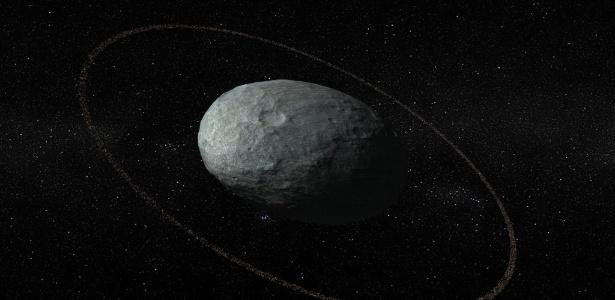 Ilustração de Haumea --planeta anão da família de Plutão-- e seu anel