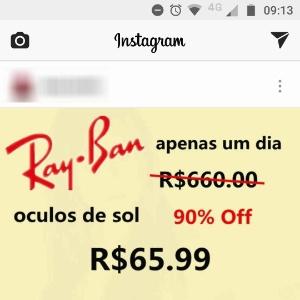 975b6c175 Golpe no Instagram em conta invadida oferece promoção de ray-ban Imagem:  Reprodução ...