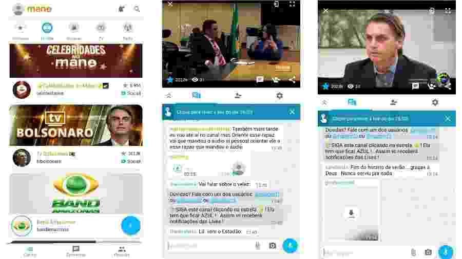 App Mano, que conta com um canal sobre Jair Bolsonaro - Reprodução
