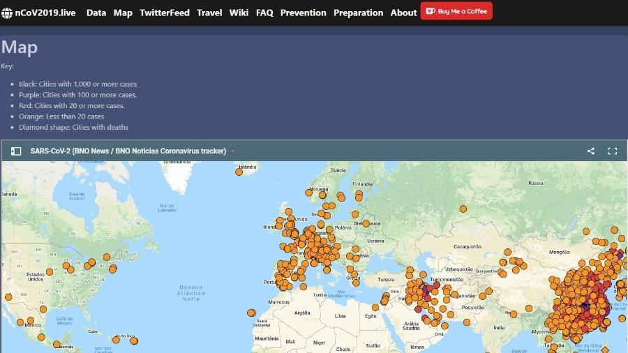 Site Ncov2019.live traz informações sobre coronavírus - Reprodução