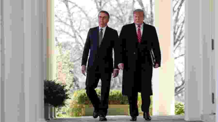 Bolsonaro e Trump em encontro em março de 2019; os dois compartilham agenda ideológica e métodos de fazer política - Reuters/Carlos Barria