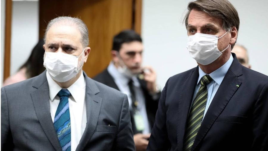 Augusto Aras e Jair Bolsonaro com máscaras - Foto: Marcos Corrêa/Presidência da República