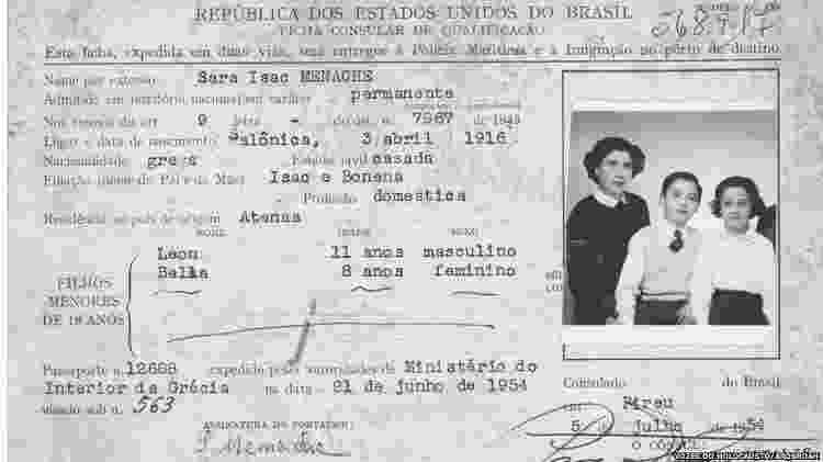 Ficha Consular de imigração de Sara Isaac Menache, emitida pelo cônsul-geral do Brasil em Pireu, em 5 de julho de 1954 - Vozes do Holocausto/Arqshoah - Vozes do Holocausto/Arqshoah