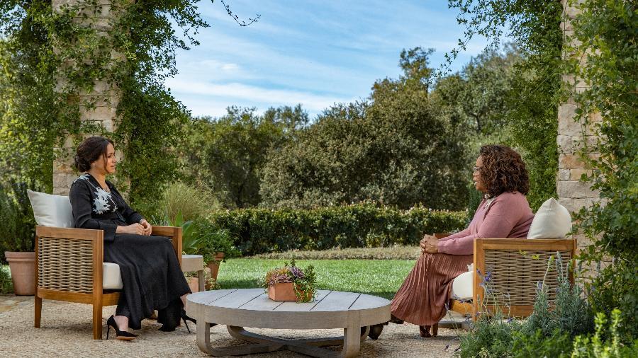 07.mar.21 - Em entrevista à Oprah, Meghan Markle revela que relacionamento com Rainha Elizabeth 2ª é bom - Handout/Harpo Productions/Joe Pugliese v