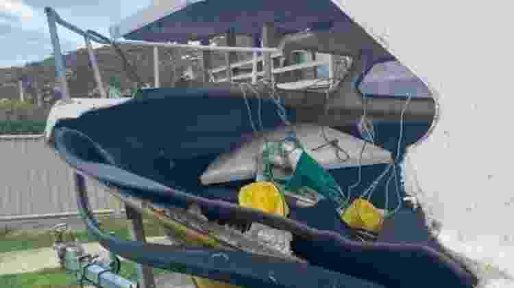 Danos em barco após ataque de baleia  - Reprodução/Polícia de Nova Gales do Sul - Reprodução/Polícia de Nova Gales do Sul