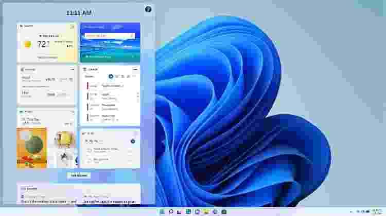 Tela de widgets do Windows 11 - Microsoft - Microsoft