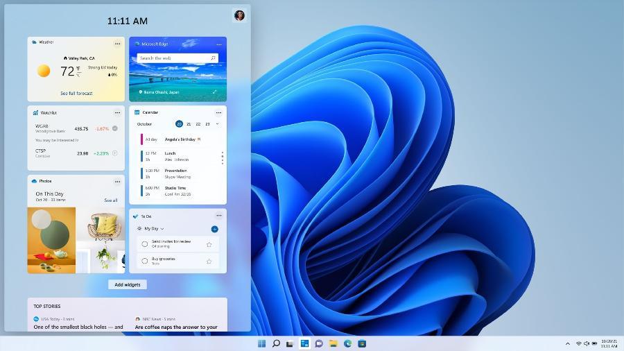 Tela de widgets do Windows 11 - Microsoft