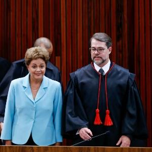 A presidente afastada, Dilma Rousseff participa, no TSE, em 2015