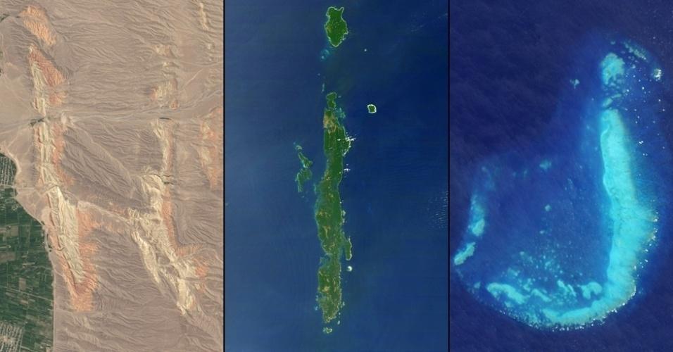"""6.jan.2015 - Cordilheiras no sudoeste do Quirguistão formam a letra """"H""""; as ilhas Andaman, um arquipélago que pertence à Índia, formam a letra """"I""""; a letra """"J"""" é formada pelo recife Reef, perto de Townsville, Austrália"""