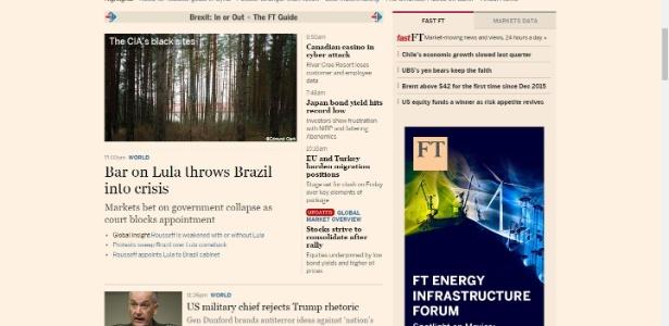 Reprodução da página do Financial Times