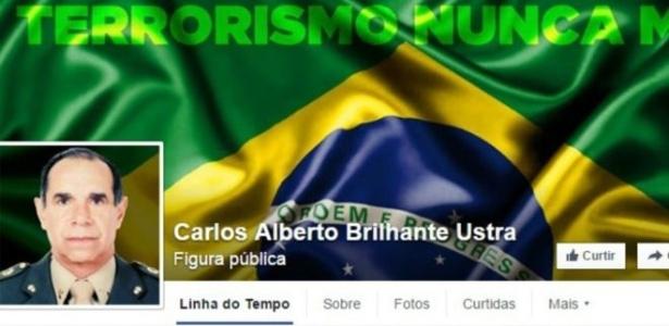 Página relacioanda ao coronel Carlos Alberto Brilhante Ustra no Facebook