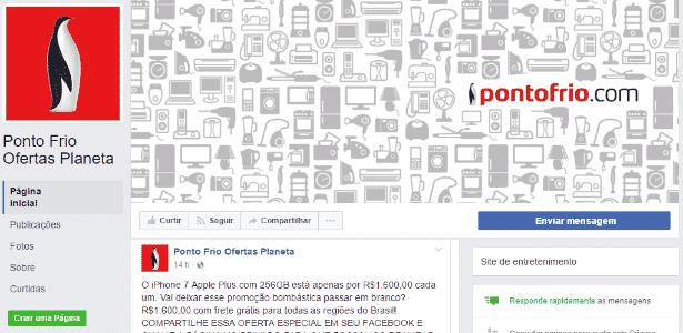 Página falsa de promoções do Ponto Frio no Facebook - Reprodução/PSafe - Reprodução/PSafe