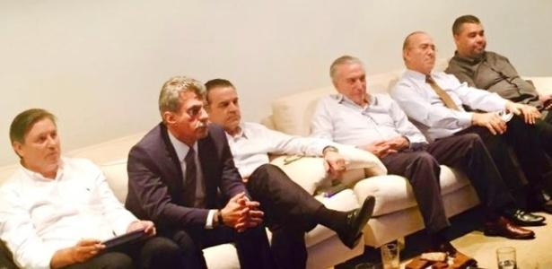 Michel Temer assiste sessão que aprovou admissibilidade de impeachment de Dilma junto a Henrique Eduardo Alves, Eliseu Padilha, Romero Jucá e Rodrigo Rocha Loures - Divulgação/Folhapress