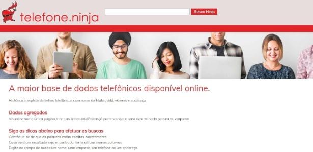 Telefone.Ninja segue mostrando número de celulares
