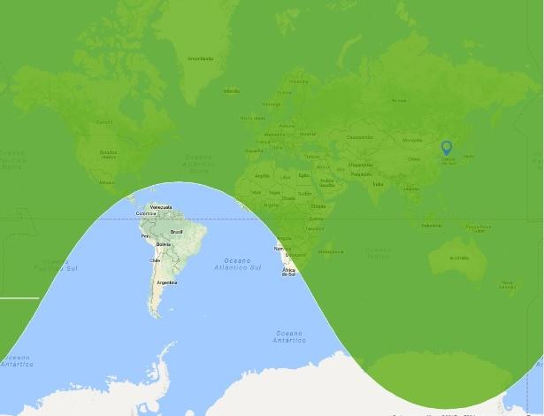 29.nov.2017 - Mapa mostra o alcance estimado do míssil Hwasong-15, testado pela Coreia do Norte; apenas a América do Sul está fora da 'zona de risco'
