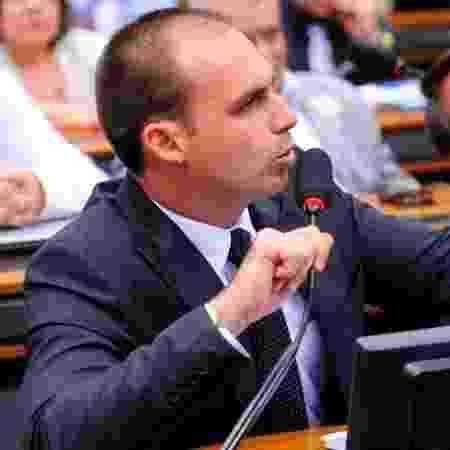 O deputado federal Eduardo Bolsonaro (PSL-SP), em comissão da Câmara, em Brasília  - Câmara dos Deputados
