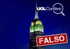 Prédio Empire State, em NY, não homenageou Bolsonaro com luzes coloridas (Foto: Arte/UOL)