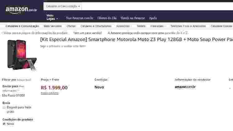 Exemplo de celular vendido e entregue pela Amazon.com.br - Reprodução - Reprodução
