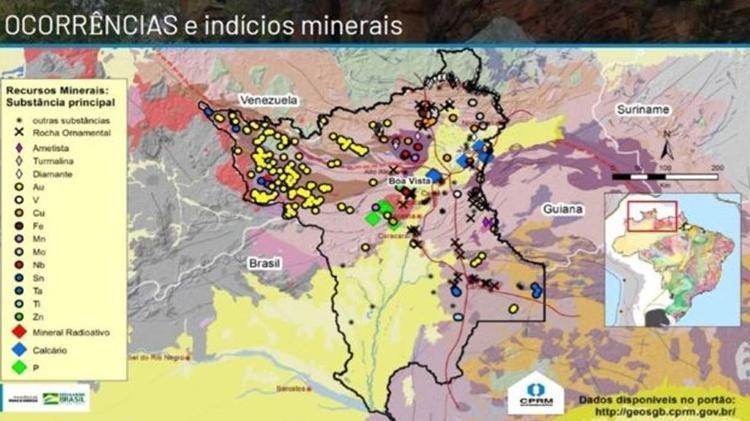 Maior parte das ocorrências de ouro (Au) em Roraima fica no território Yanomami, no noroeste do Estado - CPRM