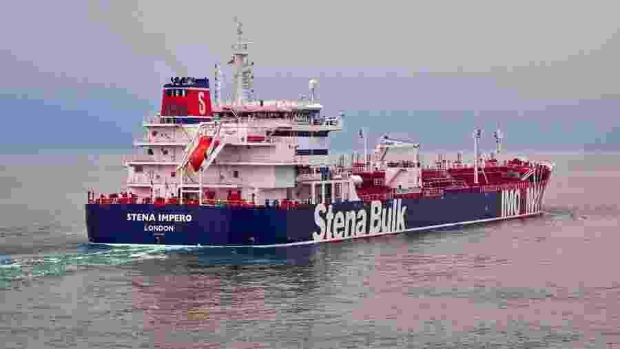 Fotografia não datada do navio de bandeira britânica Stena Impero,