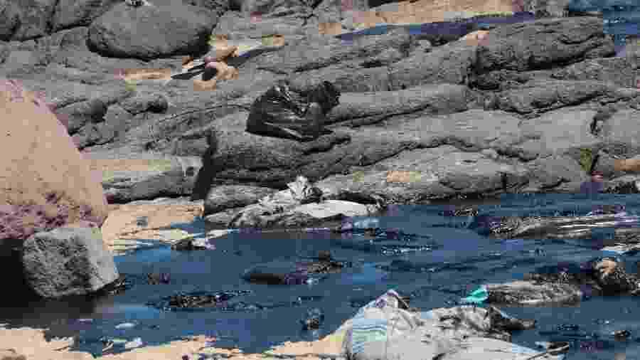 21.out.2019 - Trabalho para conter manchas na praia Pedra de Xaréu, no município do Cabo de Santo Agostinho, em Pernambuco - Alexandre Gondim/JC Imagem/Estadão Conteúdo