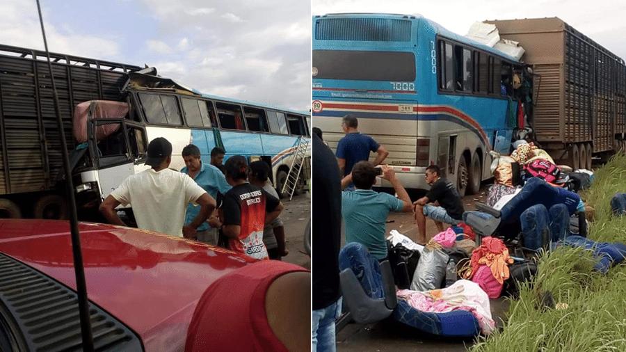 15.fev.2020 - Colisão entre um ônibus e uma carreta deixou dois mortos e mais de 20 feridos na BR-365, em MG - Corpo de Bombeiros de Minas Gerais