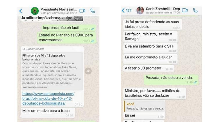 Mensagens de Moro com o presidente Jair Bolsonaro (esq.) e a deputada Carla Zambelli (direita) - Reprodução