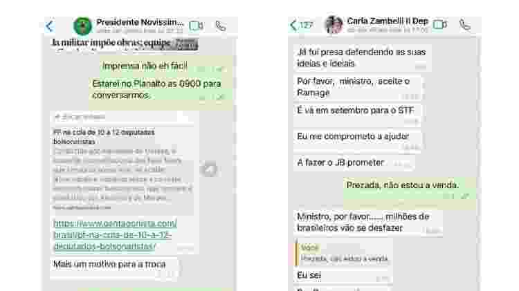 Troca de mensagens entre Moro e Bolsonaro e entre Moro e Carla Zambelli - Reprodução - Reprodução