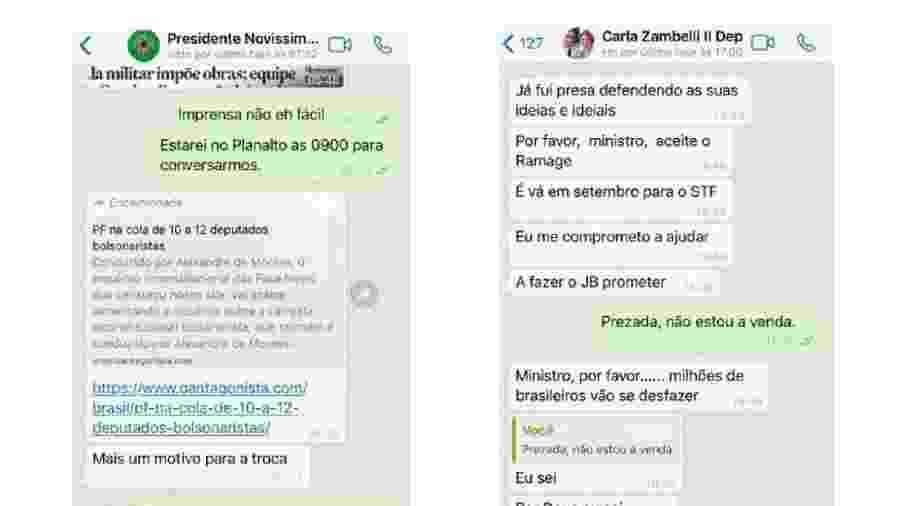 Troca de mensagens entre Moro e Bolsonaro e entre Moro e Carla Zambelli - Reprodução